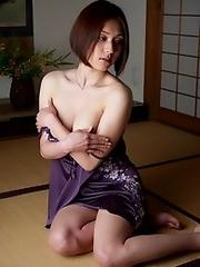 Sexy japan girl Yuzuka Kinoshita in school uniform and lingerie