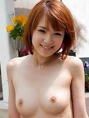 Redhead Japanese girl Hikaru Shiina in white panties undressing naked