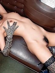 Skinny japanese model HONOKA in stockings strips naked