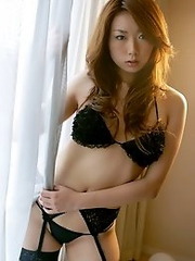 Sexy and horny japan babes Yu Minami wears black lingerie and wants sex