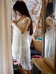 Sweet and new Japanese av idol Ai Nikaido goes outdoors to get naked
