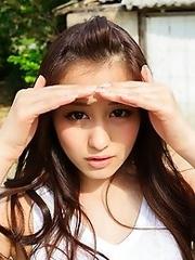 Horny and innocent Japanese av idol Beni Ito undresses at her farm home