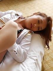 Horny and lovely Japanese av idol Kotomi Saeki spreads her legs to show her pussy