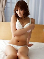 Busty and gorgeous Japanese av idol Asuka Kirara strips all her close in your house