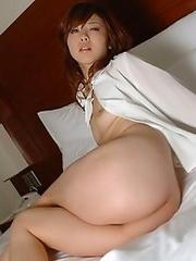 Japan girl Ami Hanamiya stripped naked in bedroom