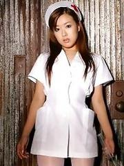 Sexy japan nurse Miyu Hoshino in white stockings