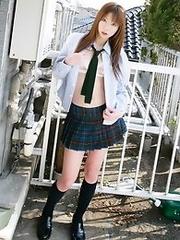 Sexy japanese teen Nana Otone in school uniform