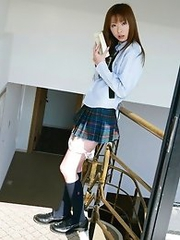 Sexy japanese teen Nana Otone in school uniform