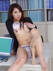 Hikaru Matsu strips in an office