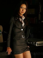 Sexy Julia Nanase strips at work