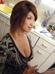 Wife Miwa Nishiki gives a blowjob