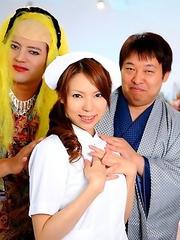 Horny nurse Rino Asuka teases on tv