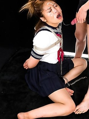 Schoolgirl Ayano Hidaka gags sloppily all over herself when her mouth is stuffed with cock.