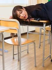Japan schoolgirl Sakura Miyuki playing with dildo and blowjob