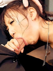 Watch sexy Miku Oguri struggle with his thick hard cock as its shoved down her throat!