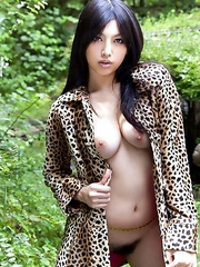 Saori Shiina Asian shows nude big tits and hairy pussy in nature