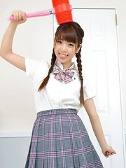 Mizuho Shiraishi with uniform and pigtails plays like child