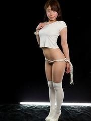 Ruru Sakurai posing in white, getting thigh-fucked, masturbates while oily