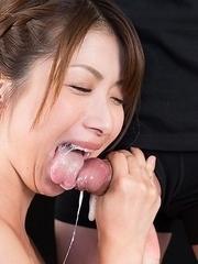Tsubaki Katou Uses Cum to Suck Off A Bunch of Guys